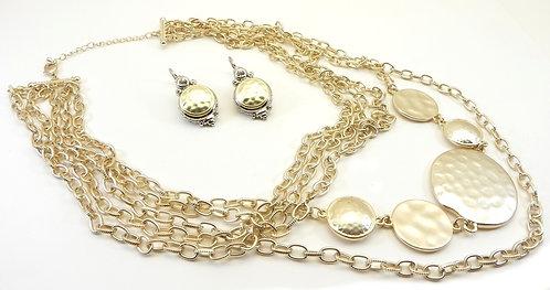Parisian Designer Inspired Matte Gold Tone Multi Strand Necklace-Earring Set