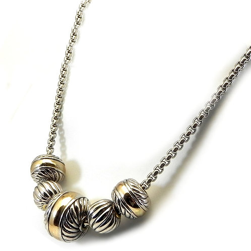 """Cable Designer Inspired 2-Tone Ball Sliders & 17"""" Magnetic Clasp Chain Necklace"""