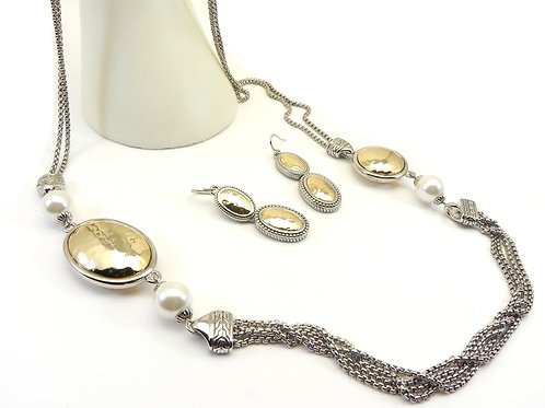"""Statement Bali Designer Inspired 2-Tone Hammered Stations 35"""" Necklace/Earrings"""