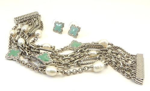 Multi-strand International Designer Inspired  Silver-Tone Bracelet, Earring Set