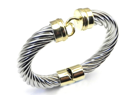 Classic Cable Designer Inspired Chunky  2-Tone  Bracelet