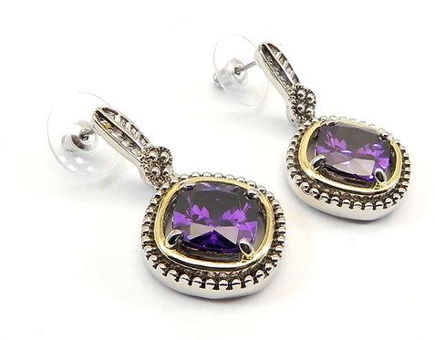 Designer Inspired 2-Tone Amethyst CZ Dangle Earring