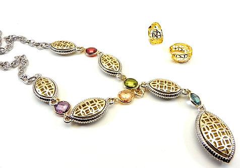 International Designer Inspired 2-Tone Filigree-Multi Y Necklace & Earring Set