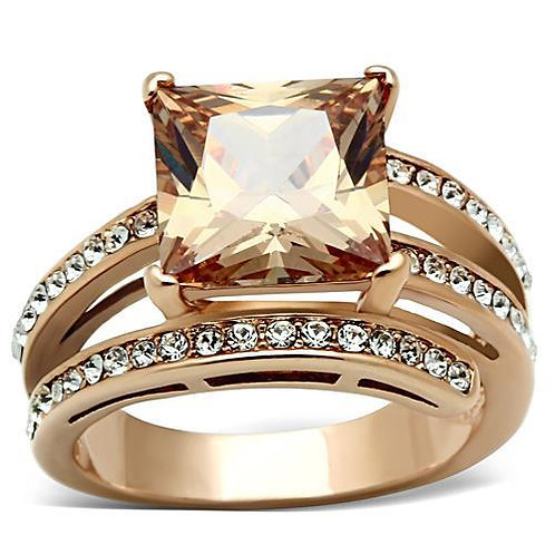 5.62ctw Champagne Princess Cut CZ & Accents Rose Gold IP Stainless Steel Ring