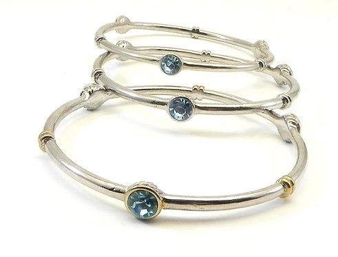Designer Inspired Silver Tone Sea Blue Crystals  Stations Bangle Set