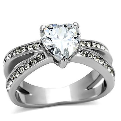 Stainless Steel  Heart Shape & Pave CZ Accents Stainless Steel Ring Size 5-10