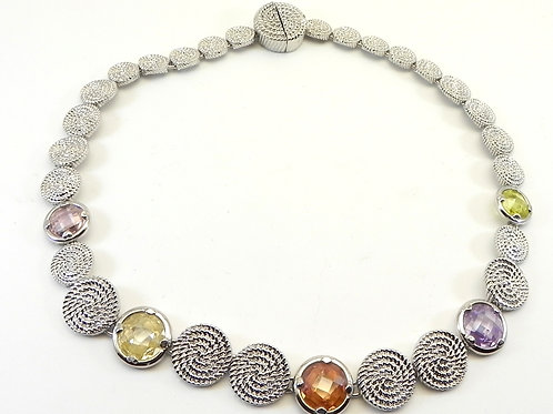 French Designer Inspired  Silver-Tone Braided Textured & Multi-Color CZ Necklace