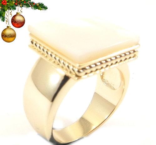 International Designer Inspired Gold-Tone Square MOP Ring 6-7-8