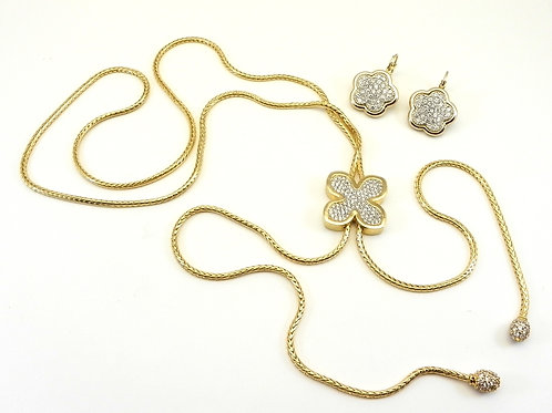 Designer Inspired Austrian Crystal Pave LARIAT Necklace-Earring Set