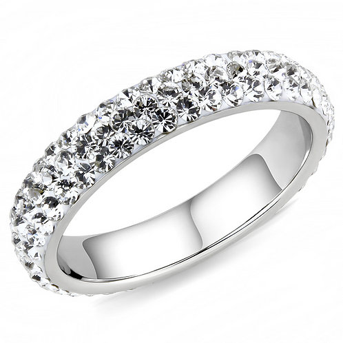 Stacking Eternity Band Pave Set Austrian Crystals Stainless Steel Ring 5-10