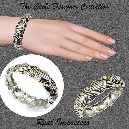 Cable Designer Bracelet 2-tone