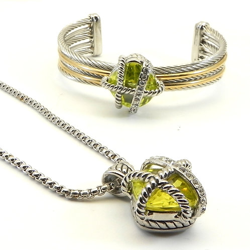 Cable Designer Inspired 2-Tone Caged Peridot CZ Pendant- Cable Cuff -Chain Set