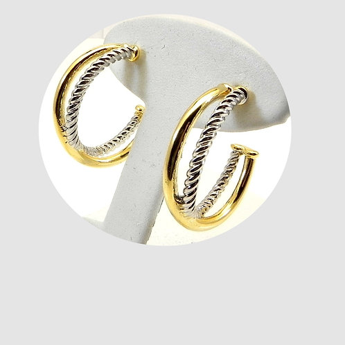 Classic Cable Designer Inspired 2-Tone Hoop Earring