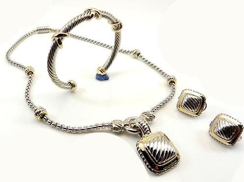 Designer Inspired Cable  Chain-Square Pendant-Earring Bracelet Set