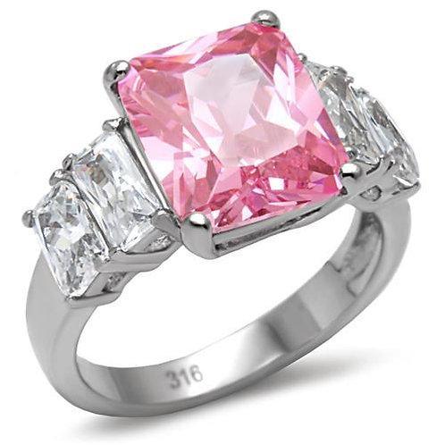 5ctw Pink Radiant Cut CZ & Baguette Sides Stainless Steel Engagement Sz 5-10