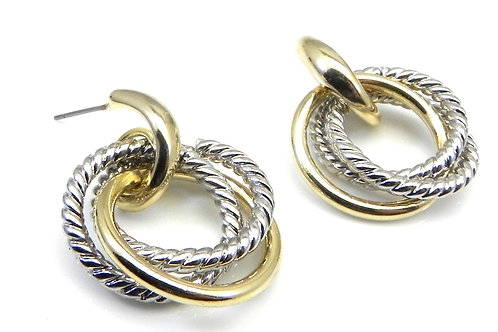Cable Designer Inspired 2-Tone Dangle-Drop Earring