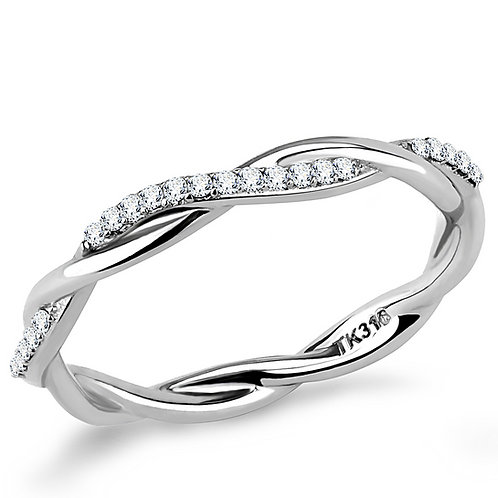 Bridal Stacking Entwined Cross-Over Micro-Pave CZ Stainless Steel Ring Sz 5-10