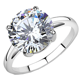Solitaire 11mm Round CZ 4.91 CaratsStainless Steel Engagement Ring