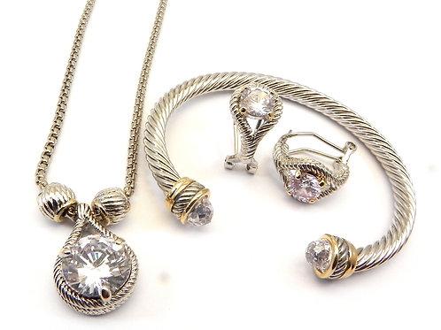Cable Designer 2-Tone Clear CZ Necklace, Earring & CZ Bracelet Set