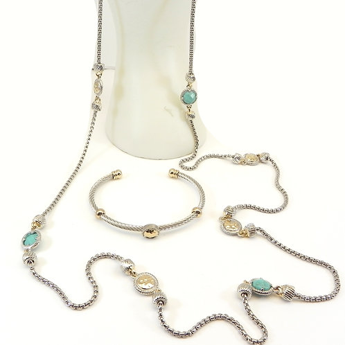 "Designer Inspired 2-Tone Simulated Turquoise 36"" Necklace & Cable Bracelet Set"