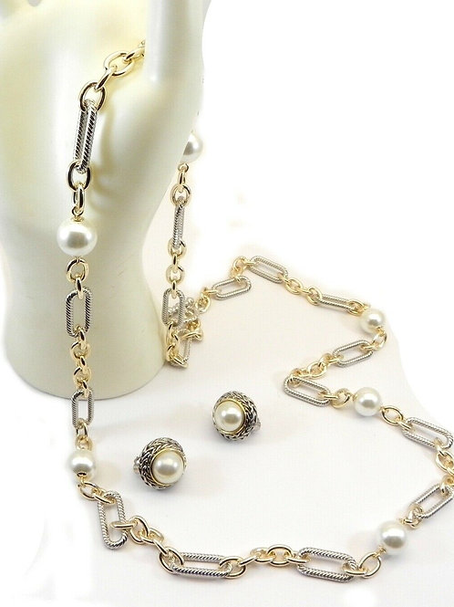 "Designer Inspired Faux Pearl 36"" Link Necklace & Faux Pearl Earring Set"