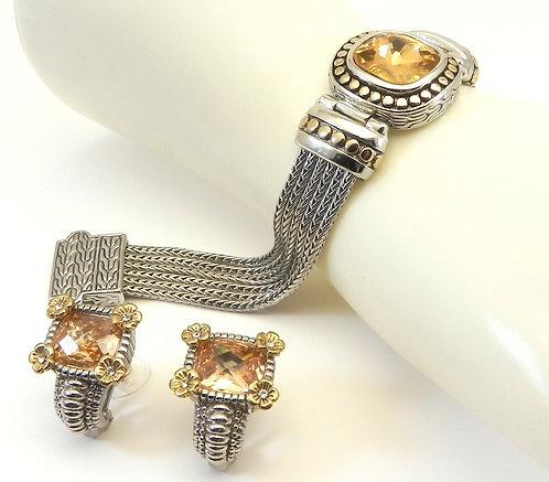 Multi-strand Bali Designer Inspired  2-Tone Champagne CZ Bracelet-Earring Set