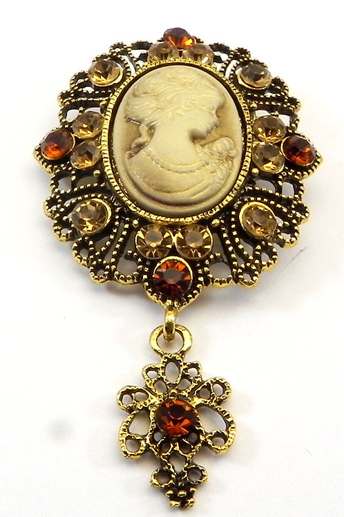 Vintage Italian Cameo Reproduction Smoky Dangle Drop Accent Topaz Crystals
