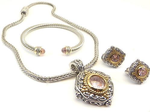 """Designer Inspired 2-Tone Pink CZ Pendant- Earring-18"""" Chain Bracelet Set"""