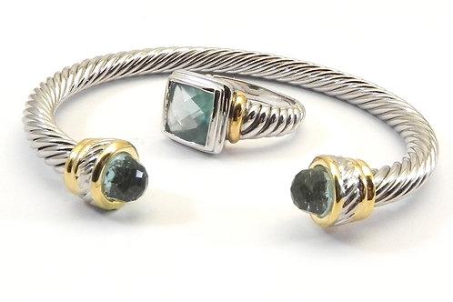 Cable Designer Inspired 2-Tone Blue Topaz Bracelet & Ring 6-8