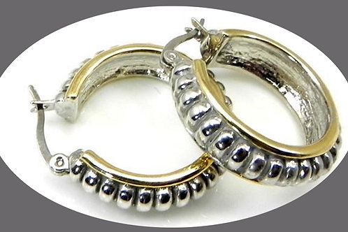 Classic Cable Designer 2-Tone Hoop Earring Surgical Steel Post