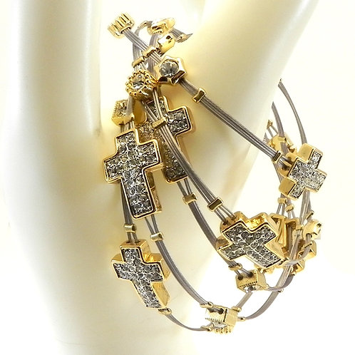 Fabulous Designer Inspired Stainless Steel Cross Guitar String Crystal Bracelet