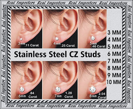 Dazzlingly Brilliant  Solitaire CZ Stainless Surgical Steel Earring Studs