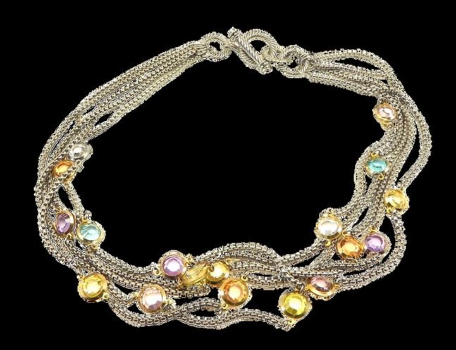 Multi color multi-strand necklace