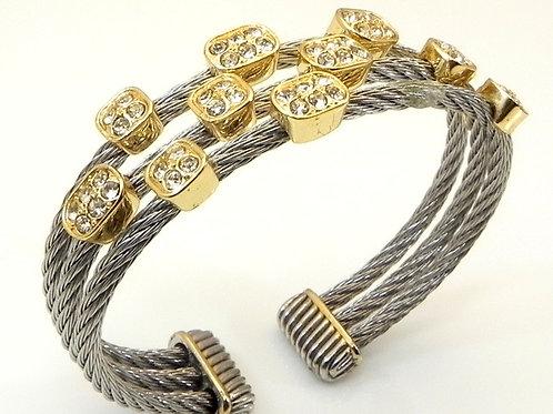 Cable Designer Inspired Pave Set Austrian Crystal Stainless Steel Bracelet