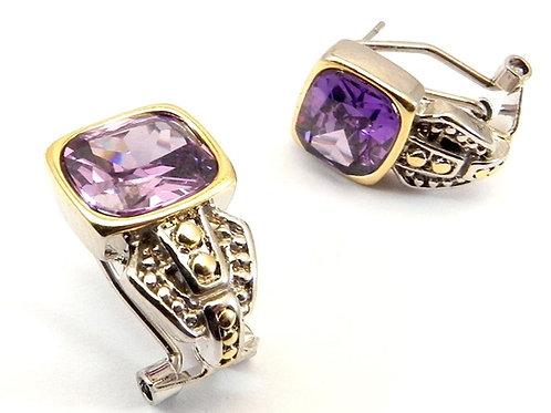 Classic  Designer Inspired Amethyst CZ Earring
