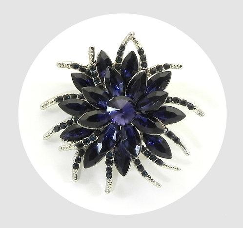 Elegant Crystal Brooch Dark Amethyst Marquise Austrian Crystal Stones
