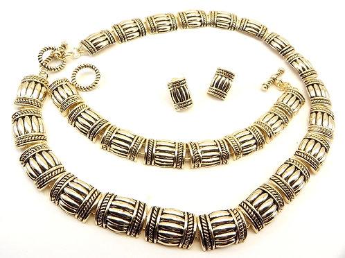 Bali Designer Inspired Antiqued Gold-Tone Bamboo Links Necklace-Bracelet-Earring