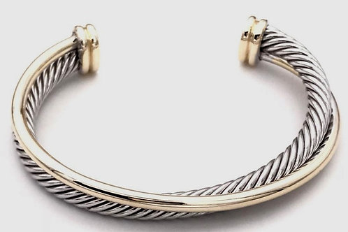 Classic Cable Designer Inspired 2-Tone  Cuff Bracelet