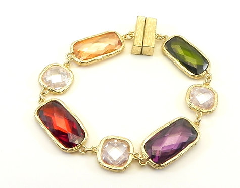 French Designer Inspired Matte Gold-Tone Multi-Color Rectangle CZ Bracelet