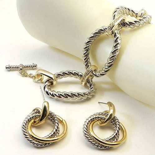 Cable Designer Inspired 2-Tone Pave Link Toggle Bracelet & Dangle earring Set