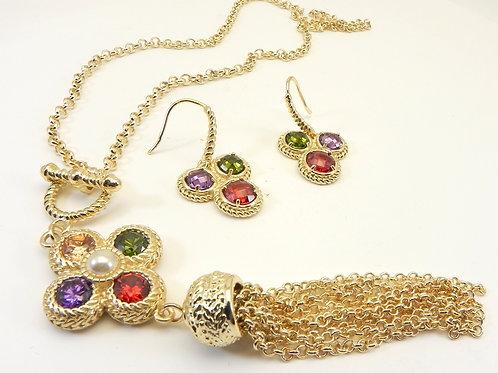 "Designer Inspired Gold-Tone Multi-Color CZ & Tassel 18"" Necklace & Earring Set"