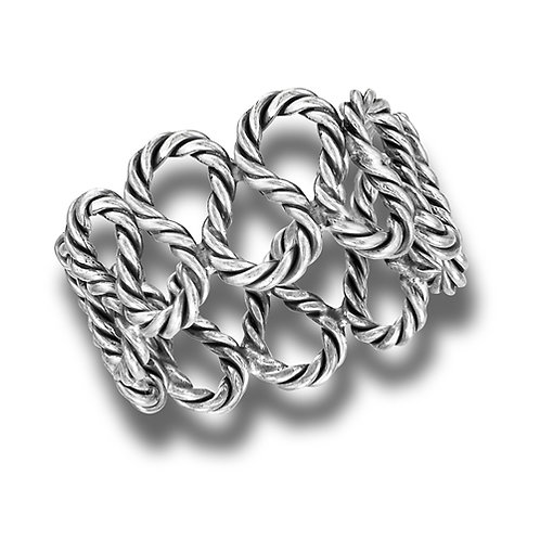 Sterling Silver Delicate Coiled Rope Ring Size 7