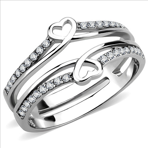 Delightful Split Shank Hearts & CZ Sides Stainless Steel Engagement Ring Sz 5-9