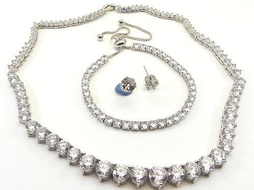 "Statement  Silver-Tone  15"" Graduated CZ Necklace-CZ Bracelet Earring Set"