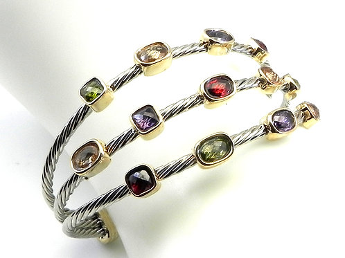 Cable Designer Inspired  2-Tone Confetti Multi-Color Stainless Steel Bracelet