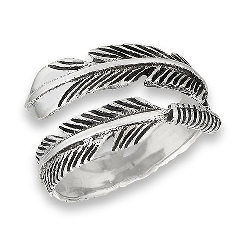 Sterling Silver Double Feather Ring Size 7