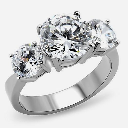 3 Stone Trellis 9 mm Round Cut CZ's Stainless Steel Bridal Engagement Ring 5-10