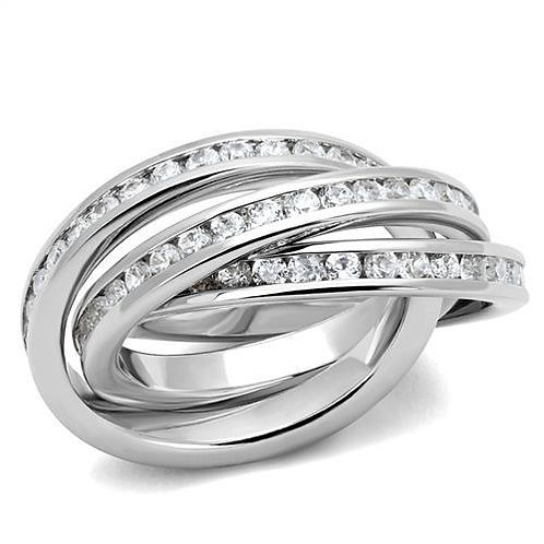 Designer Inspired Triple CZ Rolling Band Channel Set Promise-Engagement Sz 5-6-7