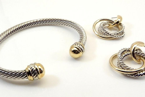 Cable Designer Inspired 2-Tone Gold Tip Twisted Bracelet and Earring Set