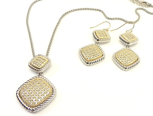 Designer Inspired 2-Tone Pave Crystal Center & Pave Matching Earring Set